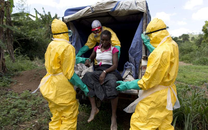 Health workers take a patient to a treatment centre during the 2014 Ebola epidemic in Liberia - AFP