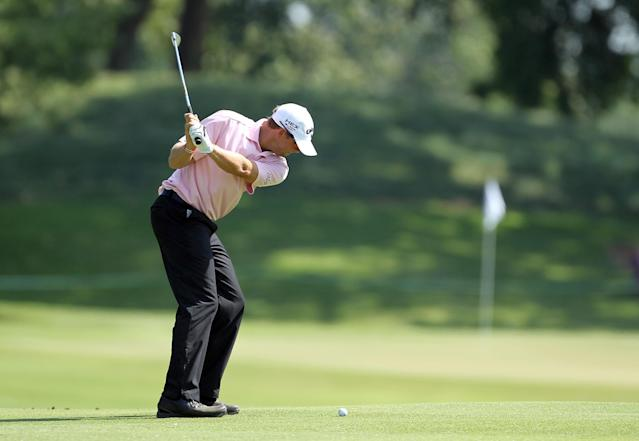 MEMPHIS, TN - JUNE 07: J.J. Killeen hits his second shot on the par 4 1st hole during the first round of the FedEx St. Jude Classic at TPC Southwind on June 7, 2012 in Memphis, Tennessee. (Photo by Andy Lyons/Getty Images)