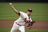 St. Louis Cardinals starting pitcher Jack Flaherty throws during the second inning of a baseball game against the Pittsburgh Pirates Wednesday, May 19, 2021, in St. Louis. (AP Photo/Jeff Roberson)