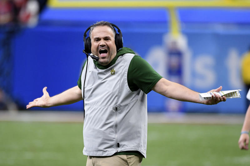 Baylor head coach Matt Rhule reacts from the sideline in the second half of the Sugar Bowl NCAA college football game against Georgia in New Orleans, Wednesday, Jan. 1, 2020. (AP Photo/Bill Feig)