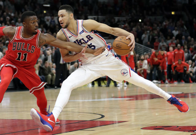 "<a class=""link rapid-noclick-resp"" href=""/nba/players/5600/"" data-ylk=""slk:Ben Simmons"">Ben Simmons</a> continued his impressive debut season with a triple-double Wednesday. (AP Photo/Charles Rex Arbogast)"