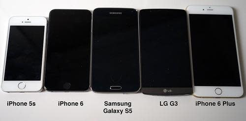 Size comparison of iPhones and phones from LG and Samsung
