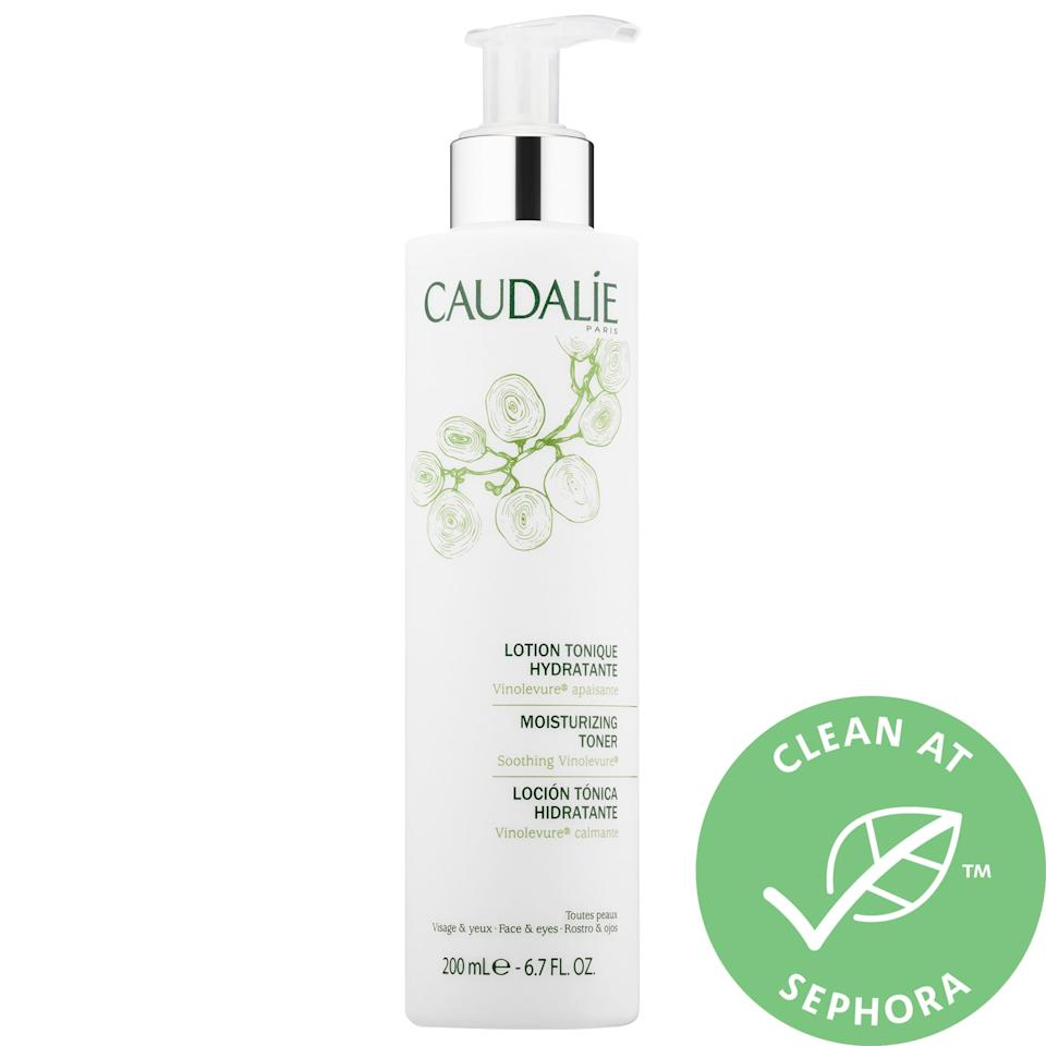 "<p><strong>Item: </strong><a href=""https://www.popsugar.com/buy/Caudalie-Moisturizing-Toner-529524?p_name=Caudalie%20Moisturizing%20Toner&retailer=sephora.com&pid=529524&price=28&evar1=bella%3Aus&evar9=47567685&evar98=https%3A%2F%2Fwww.popsugar.com%2Fbeauty%2Fphoto-gallery%2F47567685%2Fimage%2F47567690%2FCaudalie-Moisturizing-Toner&list1=sephora%2Ctoner%2Cbeauty%20shopping%2Cbeauty%20review%2Cskin%20care&prop13=api&pdata=1"" rel=""nofollow"" data-shoppable-link=""1"" target=""_blank"" class=""ga-track"" data-ga-category=""Related"" data-ga-label=""http://www.sephora.com/product/moisturizing-toner-P253623"" data-ga-action=""In-Line Links"">Caudalie Moisturizing Toner</a> ($28)</p> <p><strong>What our editor said:</strong> ""I like to add on this [toner] to hydrate my skin and prep it for the moisturizer and any serums that come later. Many toners have alcohol and are too harsh on my dry skin, but this one always leaves it feeling great (and it's alcohol-free)."" - Morgan Ashley Parker, contributing editor, Beauty</p> <p>If you want to read more, here is <a href=""https://www.popsugar.com/beauty/best-daytime-skincare-products-for-dry-skin-from-sephora-46995949"" class=""ga-track"" data-ga-category=""Related"" data-ga-label=""https://www.popsugar.com/beauty/best-daytime-skincare-products-for-dry-skin-from-sephora-46995949"" data-ga-action=""In-Line Links"">the complete review</a>.</p>"
