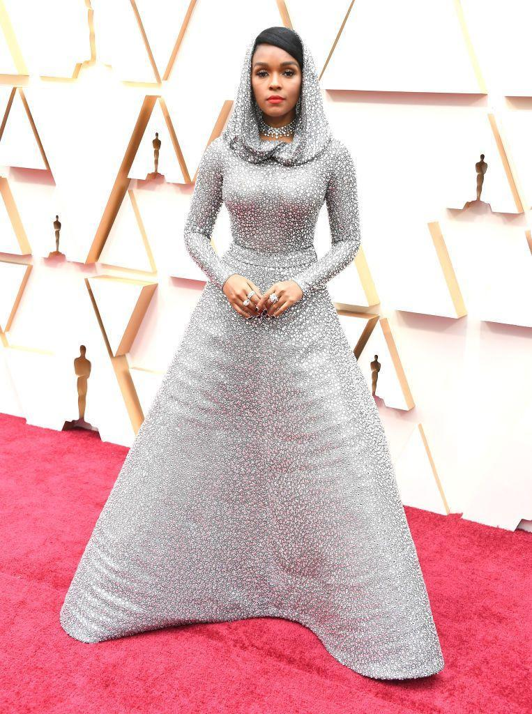 <p>Janelle Monáe in a hooded, Swarovski-crystal-covered Ralph Lauren gown. </p>