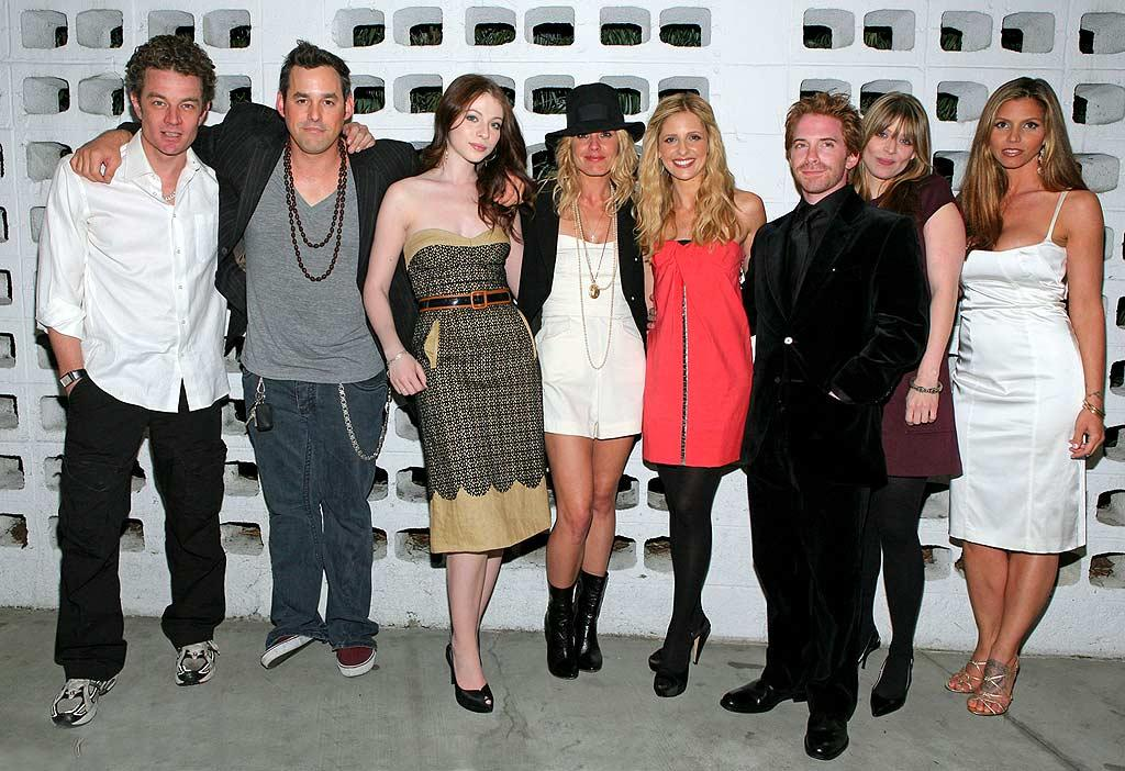 "Remember these faces? James Marsters (Spike), Nicholas Brendon (Xander), Michelle Trachtenberg (Dawn), Emma Caufield (Anya), Sarah Michelle Gellar (Buffy), Seth Green (Oz), Amber Benson (Tara), and Charisma Carpenter (Cordelia) pose for a group shot. Kevin Parry/<a href=""http://www.wireimage.com"" target=""new"">WireImage.com</a> - March 20, 2008"