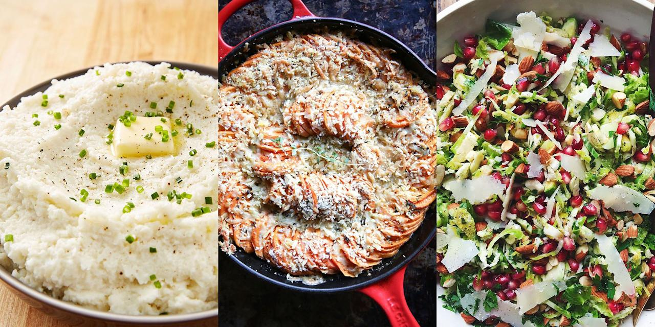 """<p>Look, we're living in the 21st century, not everything is about the <a href=""""https://www.delish.com/uk/cooking/recipes/a29557866/best-oven-roast-turkey-recipe/"""" target=""""_blank"""">Turkey</a>! Veggies celebrate Christmas too guys, which means we need meatless substitutes on the <a href=""""https://www.delish.com/uk/christmas/"""" target=""""_blank"""">Christmas</a> dinner table. </p><p>Can't think what? No problem, we've done all the hard work for you and put together a delicious collection of vegetarian Christmas dinner recipes. </p><p>Think Cheesy Cauliflower Bake and Honey Balsamic Glazed Brussels Sprouts. These recipes make the perfect main and side dishes for veggie and meat-eaters alike! Enjoy.</p>"""
