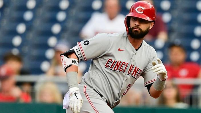 May 26, 2021; Washington, District of Columbia, USA; Cincinnati Reds right fielder Jesse Winker (33) stands at first base after singling against the Washington Nationals at Nationals Park.
