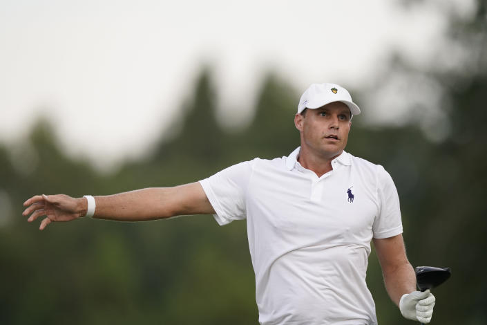 Nick Watney tries to direct his drive from the 18th tee box during the second round of the Sanderson Farms Championship golf tournament in Jackson, Miss., Friday, Oct. 1, 2021. Watney finished the day in a three-way tie for first at 13-under. (AP Photo/Rogelio V. Solis)