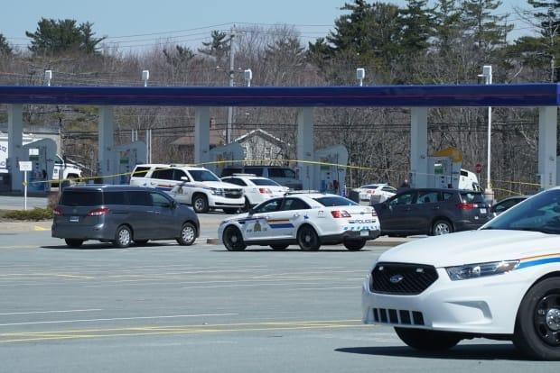 The gunman was shot and killed by police at a gas station in Enfield, N.S., around 11:25 a.m. on April 19, 2020. New video shows a few minutes before, he had tried to refill at another gas station about 7.5 kilometres away.   (Eric Woolliscroft/CBC - image credit)