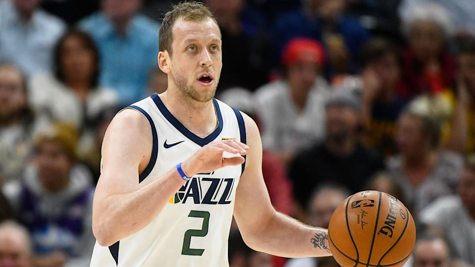 Pictured here, Utah Jazz star Joe Ingles thinks the rest of the NBA season will be scrapped.