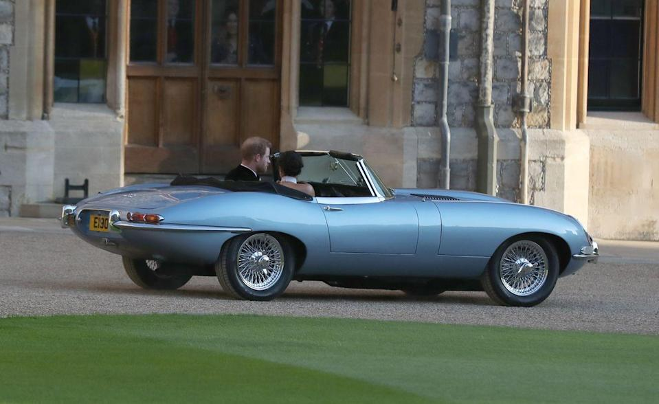 """<p>Meghan and Harry opted for a silver-blue <a href=""""https://people.com/royals/feminist-moment-meghan-harry-royal-wedding/"""" rel=""""nofollow noopener"""" target=""""_blank"""" data-ylk=""""slk:Jaguar E-Type Concept Zero"""" class=""""link rapid-noclick-resp"""">Jaguar E-Type Concept Zero</a>. The car was converted into an electric car before their wedding, so their ride was environmentally-friendly!</p>"""