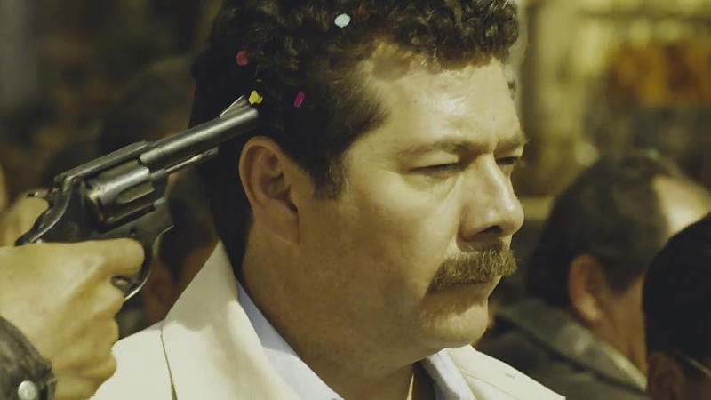 """In this still image taken from the trailer of the film """"Colosio"""" released by the film's producers Alebrije/Cinetc on June 13, 2012, Mexican actor Enoc Leano plays the part of the slain Mexican presidential candidate Luis Donaldo Colosio on the day he was assassinated in Tijuana, Mexico on March 23, 1994. """"Colosio,"""" which portrays the 1994 killing of a candidate who was almost certain to be the next president, casts doubts on the official conclusion that a lone gunman planned and carried out the killing of Luis Donaldo Colosio, which is often compared to John F. Kennedy's assassination. It is one of several new politically minded films being released just ahead of Mexico's July 1 election that are aimed at reminding Mexicans of the dark side of the Institutional Revolutionary Party, which governed Mexico for 71 years, and which seems set to return to power. (AP Photo/Alebrije/ Cinetc)"""