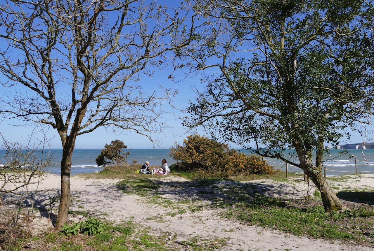 <p>People enjoy the sunshine on Middle Beach in the Studland Peninsula in Dorset. (Rex) </p>