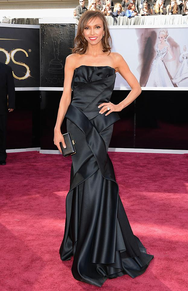 Giuliana Rancic arrives at the Oscars in Hollywood, California, on February 24, 2013.
