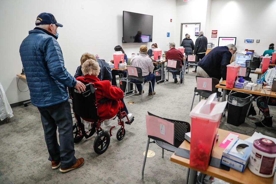 Seniors and others arrive at Ascension St. Vincent William K. Nasser, MD, Healthcare Education, and Simulation Center, 1801 W. 86th Street, Indianapolis, Ind., Saturday, Jan. 16, 2020, to receive the Pfizer vaccine.
