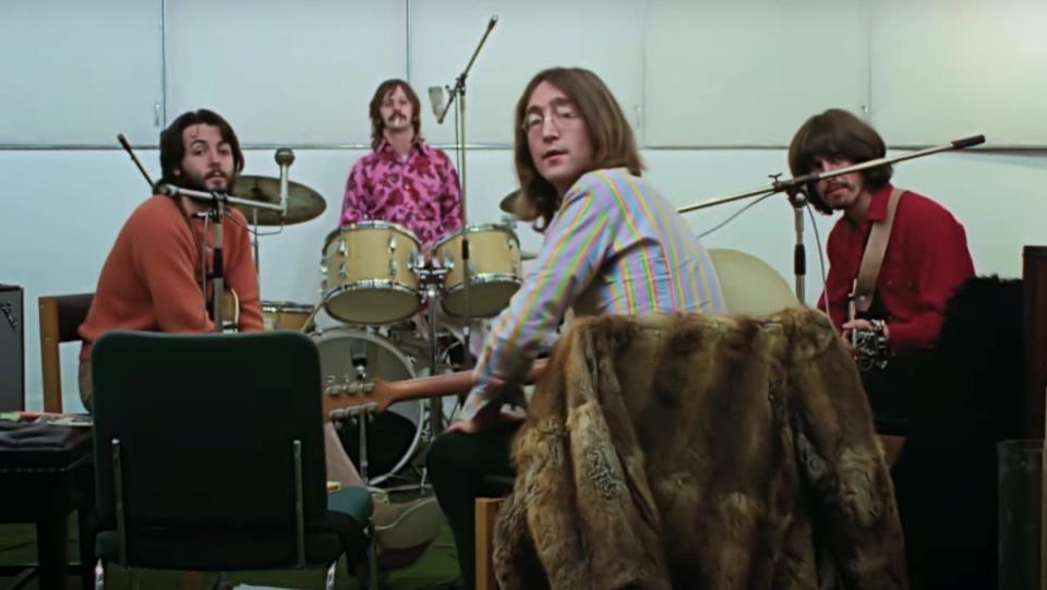 The Beatles Get Back documentary - an image of the band recording
