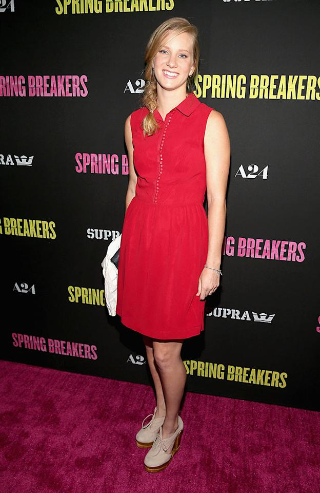 "Heather Morris attends the ""Spring Breakers"" premiere at ArcLight Cinemas on March 14, 2013 in Hollywood, California."
