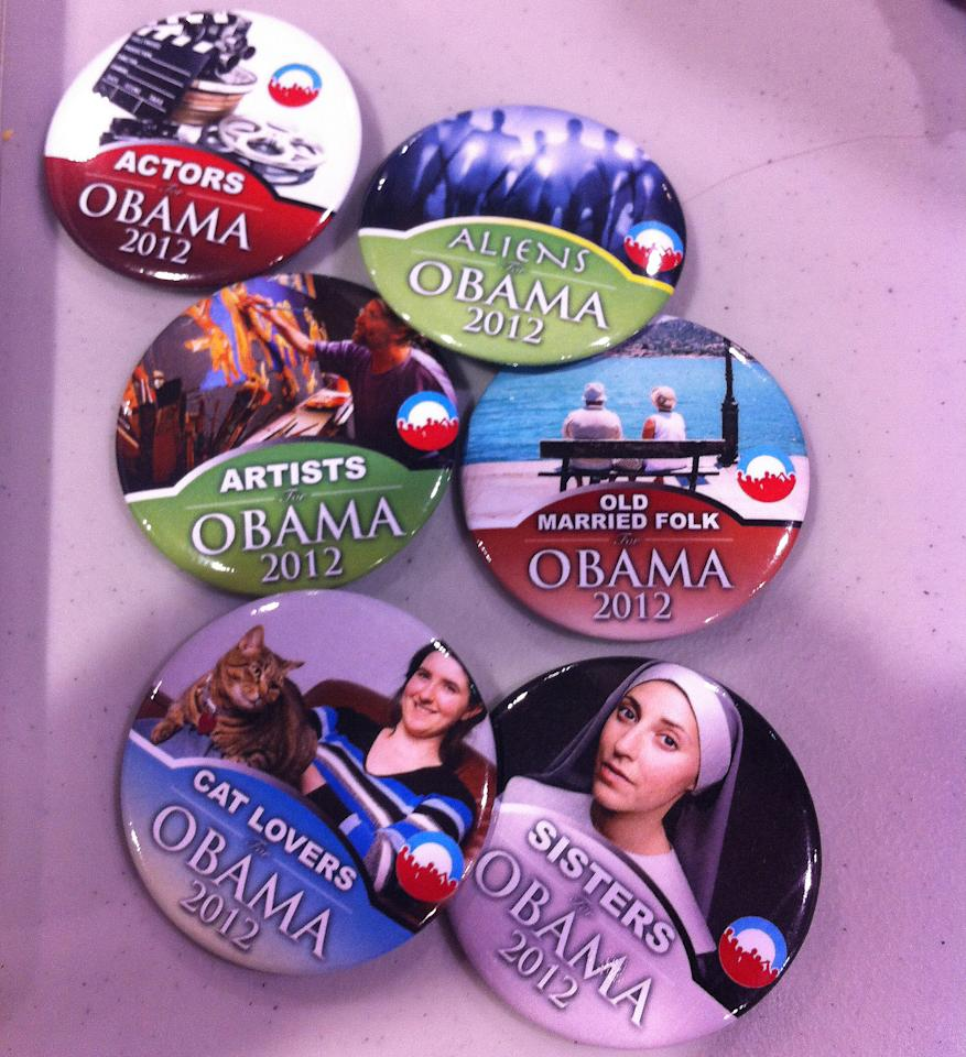 "Obama campaign buttons micro-target nuns, space aliens, cat lovers and ""old married folk"" at a stand in the arena at the Democratic National Convention on Wednesday, Sept. 5, 2012. (Jennie Josephson/Yahoo! News)"