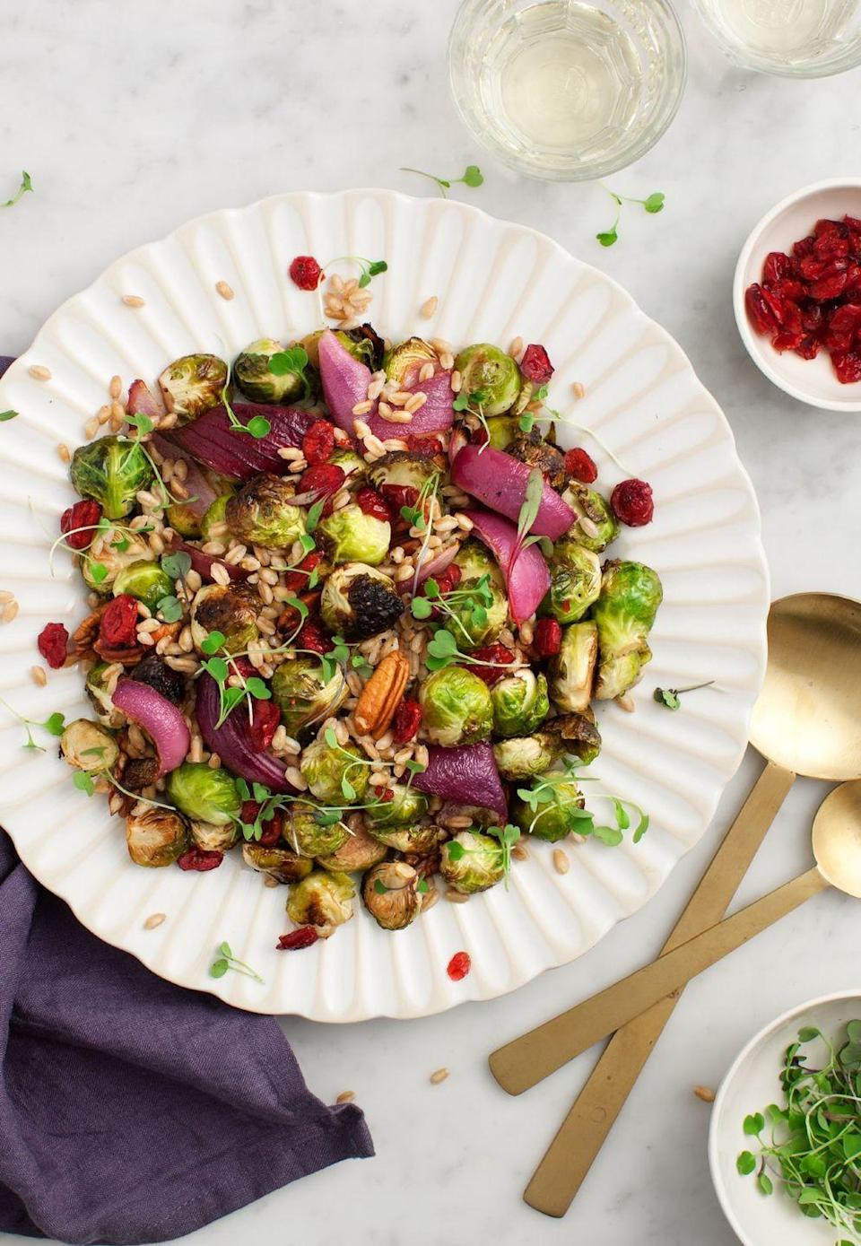 """<p>Farro is the base for this festive fall dish, but it's fair to say the caramelized sprouts are the star of the show. Prep on Sunday for a week of flavorful lunches. </p><p><strong>Get the recipe from <a href=""""https://www.loveandlemons.com/balsamic-brussels-sprouts/"""" rel=""""nofollow noopener"""" target=""""_blank"""" data-ylk=""""slk:Love & Lemons"""" class=""""link rapid-noclick-resp"""">Love & Lemons</a>.</strong></p>"""