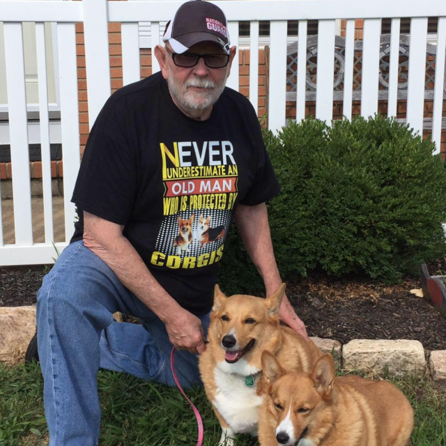 Chuck Crawford with Harley and Abby. (Photo: Facebook)