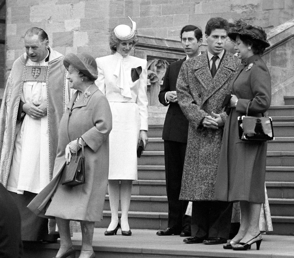 Members of the Royal Family leave St George's Chapel after the Christmas service. (l-r) The Queen Mother, Princess and Prince of Wales, Viscount Linley and his mother Princess Margaret in 1983. (PA Images)