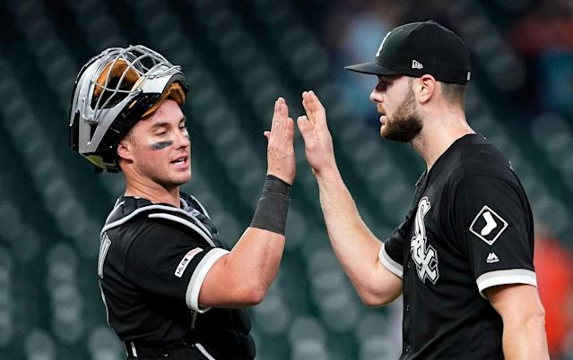 "Props to everyone who was early to the <a class=""link rapid-noclick-resp"" href=""/mlb/players/9640/"" data-ylk=""slk:Lucas Giolito"">Lucas Giolito</a> breakout (AP Photo/David J. Phillip)"