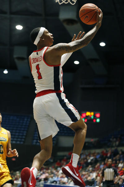 Mississippi guard Austin Crowley (1) scores on a layup against Southeastern Louisiana during the first half of an NCAA college basketball game, Saturday, Dec. 21, 2019, in Jackson, Miss. Mississippi won 83-76.(AP Photo/Rogelio V. Solis)