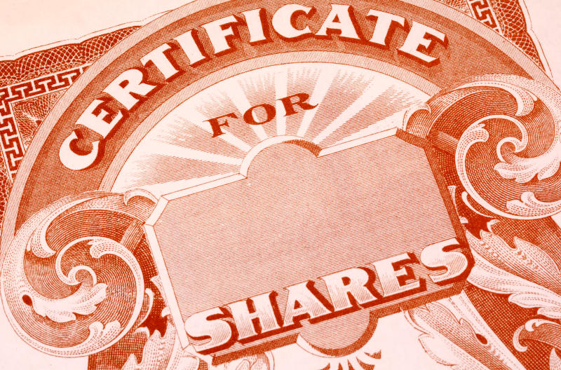 A paper certificate for shares of a publicly traded company.