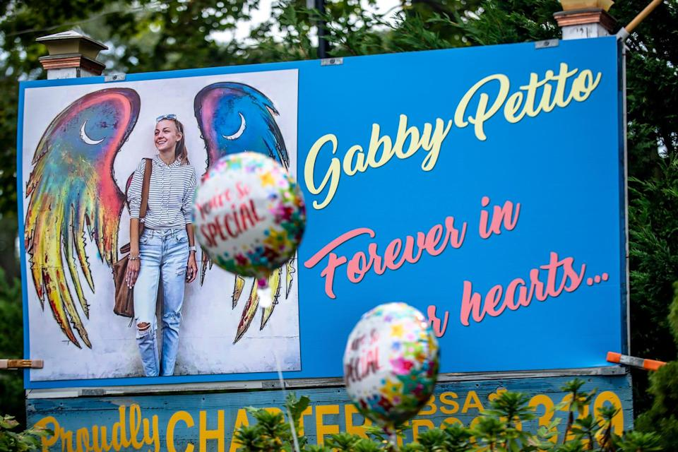 Memorials for Gabby Petito are scattered across her hometown of Blue Point, N.Y., on Sept. 23, 2021.