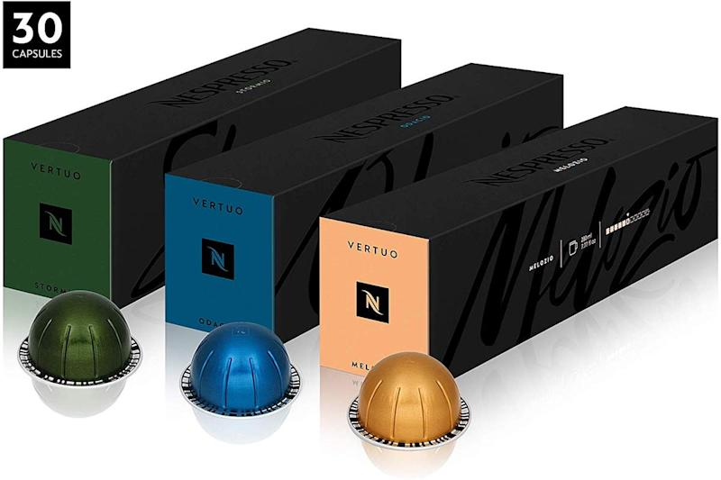 This package includes 30 gourmet capsules—10 of each of the Vertuo line's best-selling roasts. (Photo: Amazon)