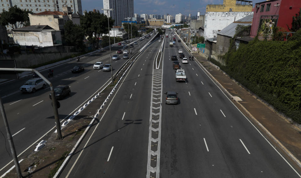 View of Sao Paulo, Brazil, seen on March 15, 2021 hours before a night-time curfew takes effect in the state of Sao Paulo amid the novel coronavirus COVID-19 pandemic. - The state of Sao Paulo has been in a
