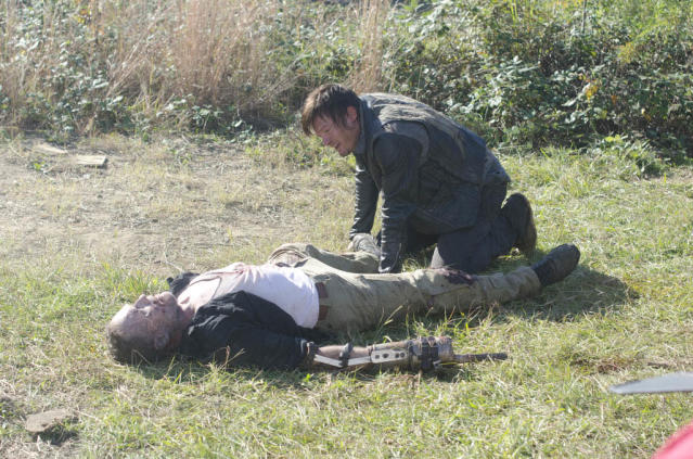 "Merle Dixon (Michael Rooker) and Daryl Dixon (Norman Reedus) in ""The Walking Dead"" episode, ""This Sorrowful Life."""