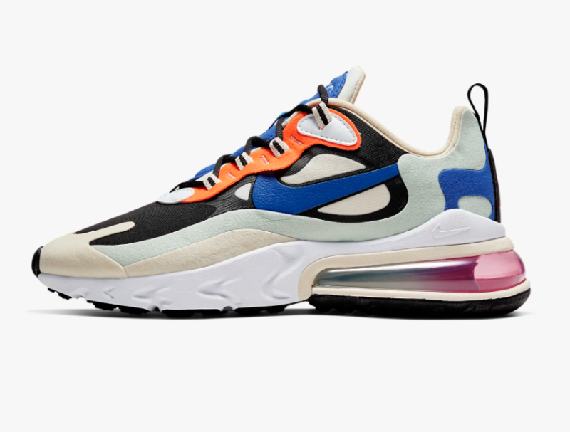 Nike Women's Air Max 270 React in Fossil, Black, Pistachio Frost, and Hyper Blue