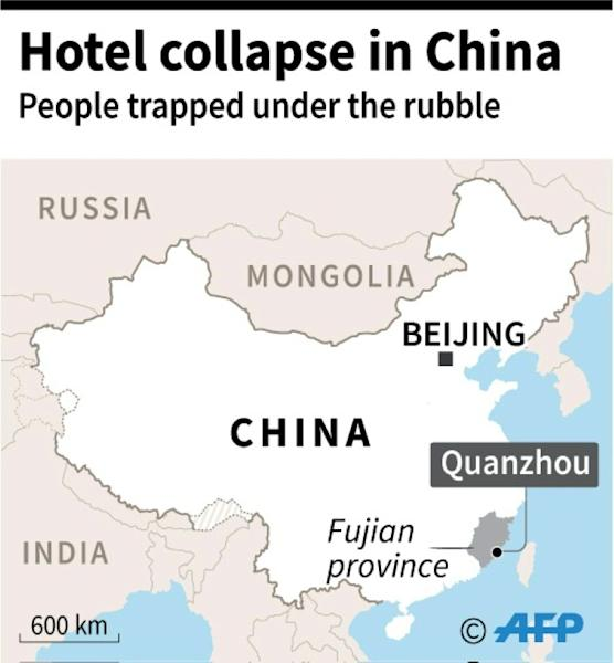 Map locating city of Quanzhou in Fujian provice, where a hotel, being used as coronavirus quarantine centre, collapsed Saturday trapping people under the rubble. (AFP Photo/)