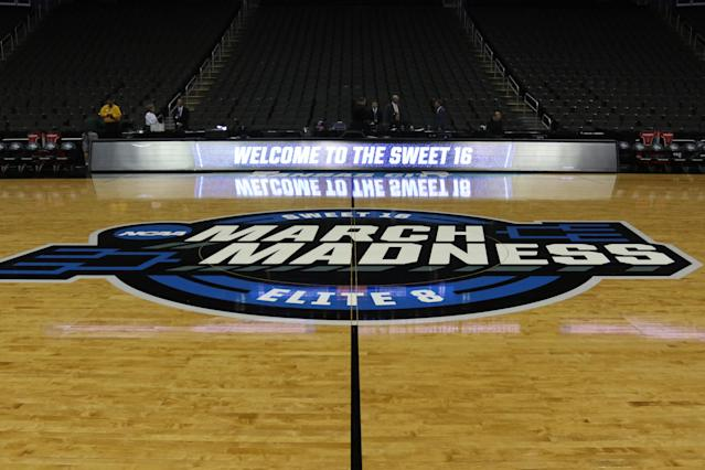 A view of the March Madness logo on center court before of an NCAA Midwest Regional Sweet Sixteen game in 2019. (Scott Winters/Icon Sportswire via Getty Images)