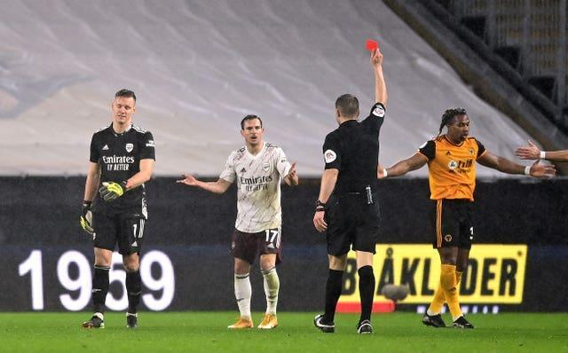 Bernd Leno was sent off for handling the ball outside of his area in the loss at Molineux.