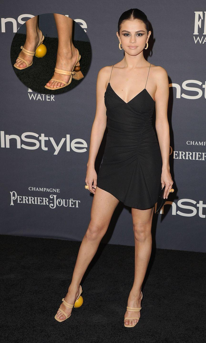 "<p>In <span class=""redactor-unlink"">Jacquemus</span> at the InStyle Awards in Los Angeles.</p>"