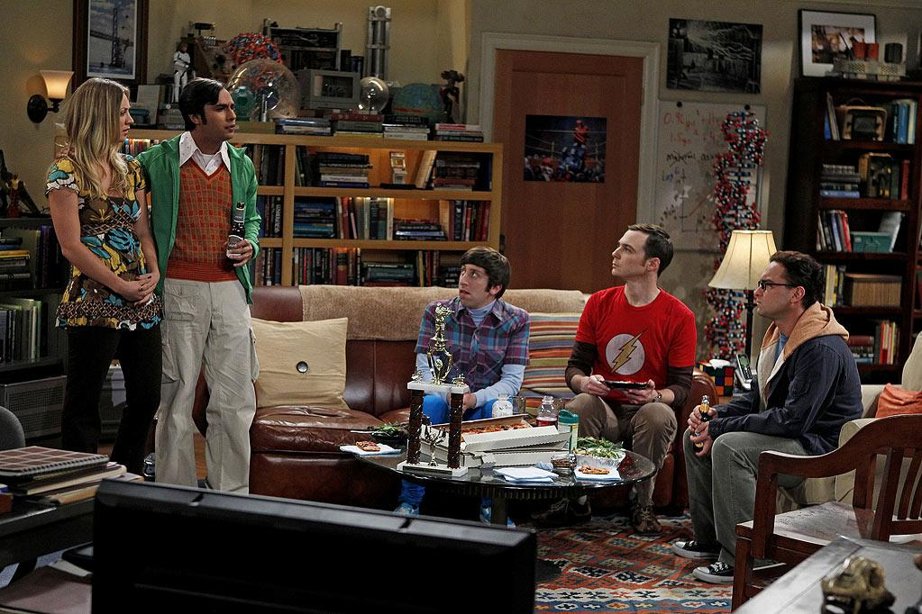 """The Skank Reflex Analysis"" -- The gang (Simon Helberg, center; Jim Parsons, second from right; Johnny Galecki, far right) deals with the aftermath of Penny (Kaley Cuoco, far left) and Raj's (Kunal Nayyar, second from left) night together, while Sheldon takes command of the paintball team, on the fifth season premiere of THE BIG BANG THEORY, Thursday, Sept. 22 (8:00-8:31 PM, ET/PT) on the CBS Television Network.   Photo: Cliff Lipson/CBS ©2011 CBS Broadcasting Inc. All Rights Reserved. Big Bang Theory"
