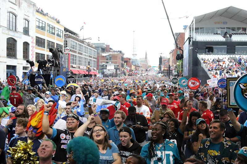 NASHVILLE, TN - APRIL 25: A view of fans on Broadway during the first round of the 2019 NFL Draft on April 25, 2019, at the Draft Main Stage on Lower Broadway in downtown Nashville, TN. (Photo by Michael Wade/Icon Sportswire via Getty Images)