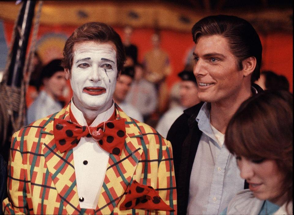 <p>Christopher Reeve visits Roger Moore on the set of Octopussy at Pinewood Studios in England. At the time, Reeve was filming Superman III in England.</p>