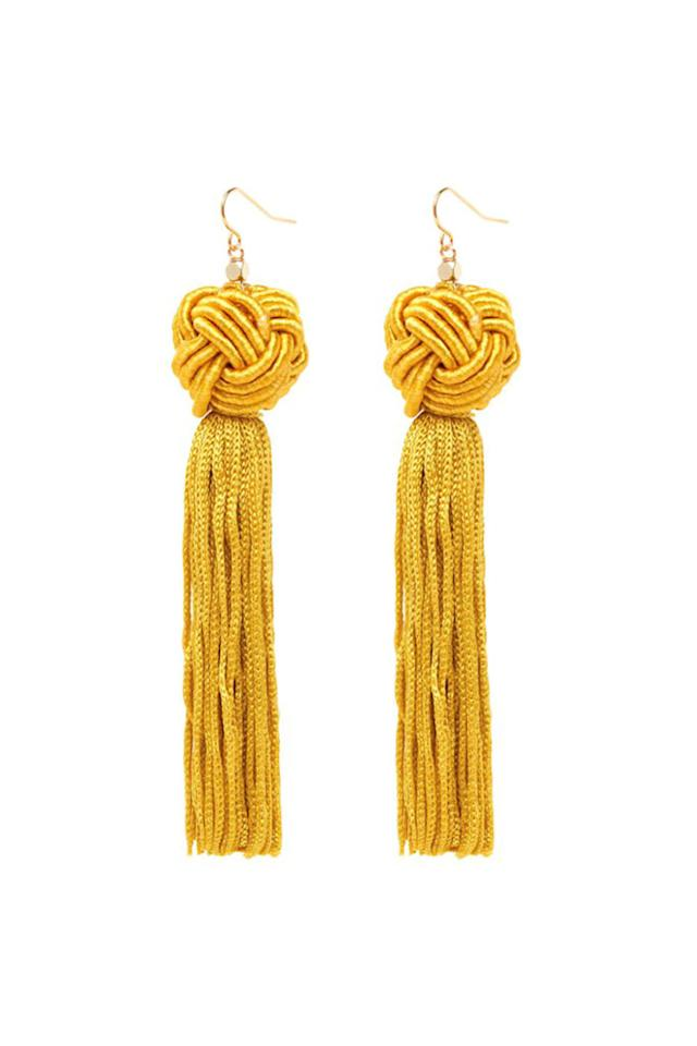 "<p>Get ready to shake what your mama gave ya! And these earrings of course. </p><p><strong>Astrid Gold Knotted Tassel Earrings, $45; <a rel=""nofollow"" href=""https://vanessamooney.com/products/the-astrid-gold-knotted-tassel-earrings?variant=30609760652"">vanessamooney.com</a>.</strong></p>"