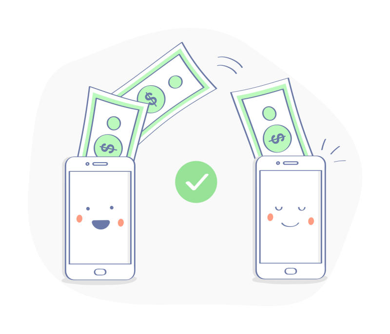 Two cartoon mobile phones with dollars floating between them.