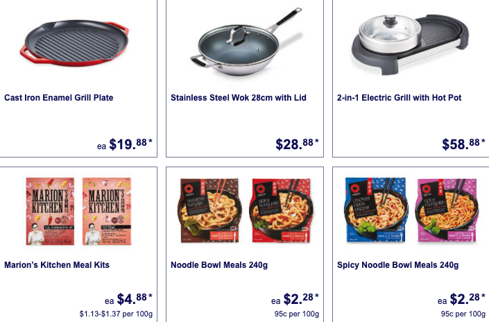 Lunar new year kitchen appliances and meal kits on sale as Special Buys at Aldi.