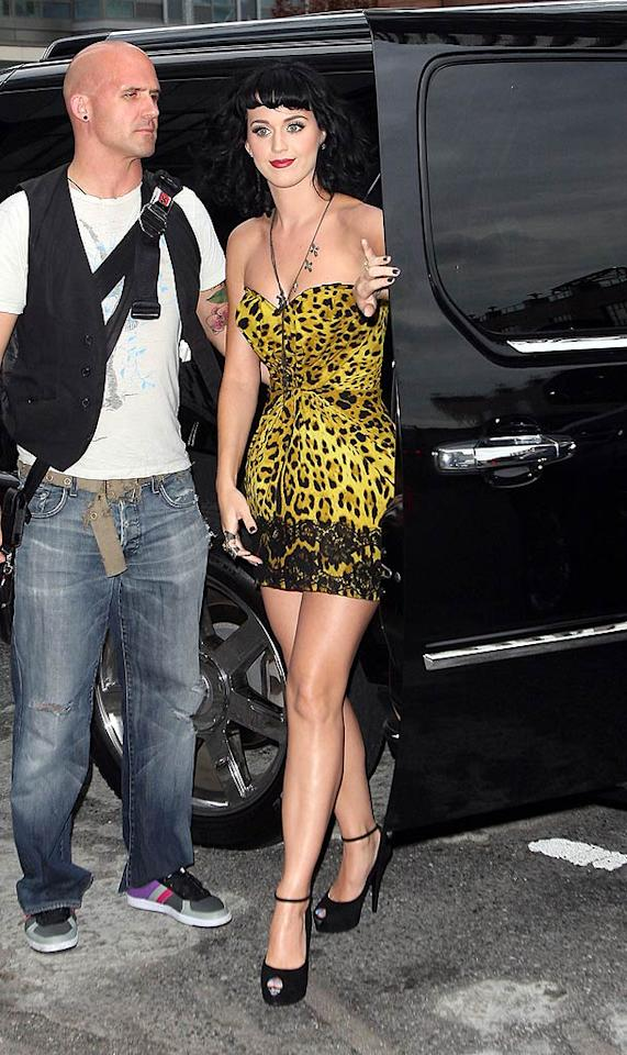 """California Gurl"" Katy Perry's endless parade of mini dresses this week included some winners ... and some losers, like this barely there, leopard-print Dolce & Gabbana nightmare that would be more appropriate worn as a nightgown. <a href=""http://www.splashnewsonline.com"" target=""new"">Splash News</a> - June 14, 2010"