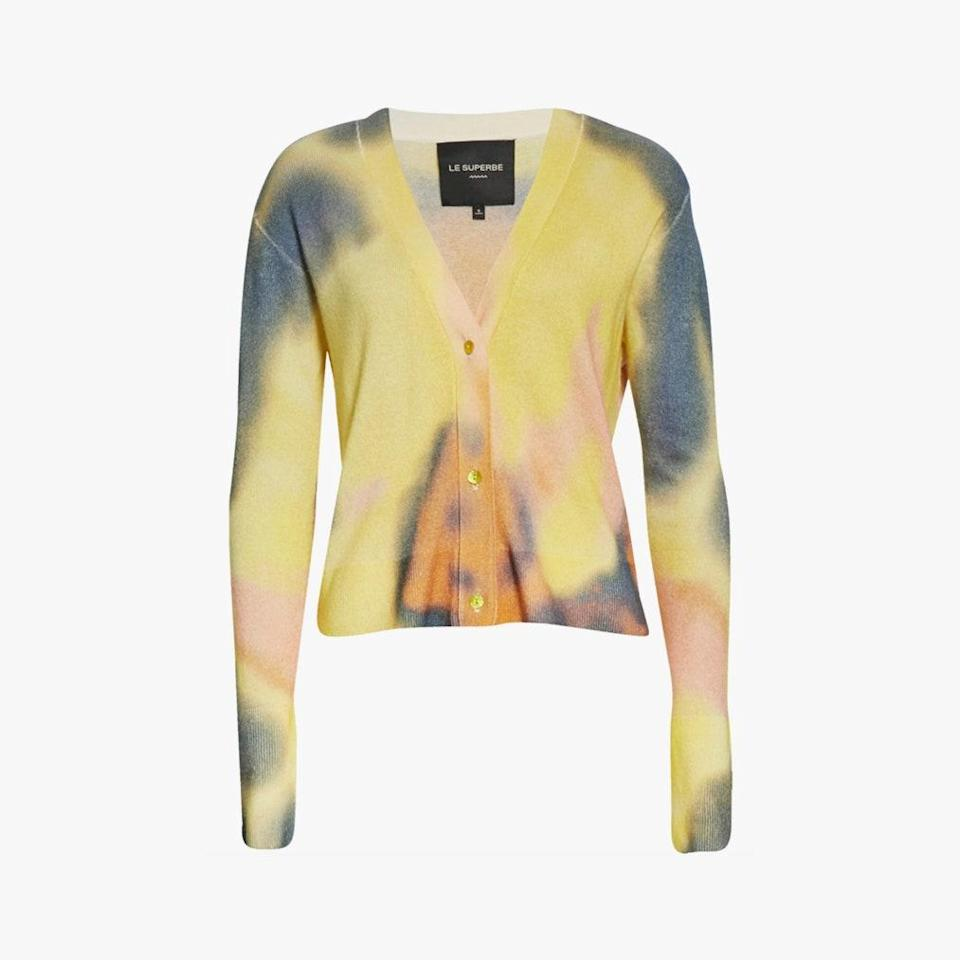 """Test out the tie-dye trend with a buttery soft cashmere cardi. $445, NORDSTROM. <a href=""""https://www.nordstrom.com/s/le-superbe-sunrise-crop-wool-cashmere-cardigan/5706294"""" rel=""""nofollow noopener"""" target=""""_blank"""" data-ylk=""""slk:Get it now!"""" class=""""link rapid-noclick-resp"""">Get it now!</a>"""