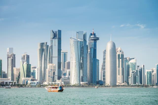 Dhow in Front of Modern Doha Skyline, Qatar