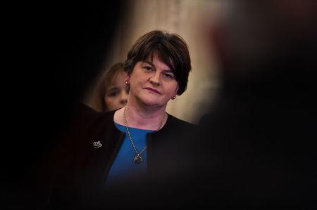 DUP leader Arlene Foster looks on during a press conference in Parliament Buildings at Stormont in Belfast