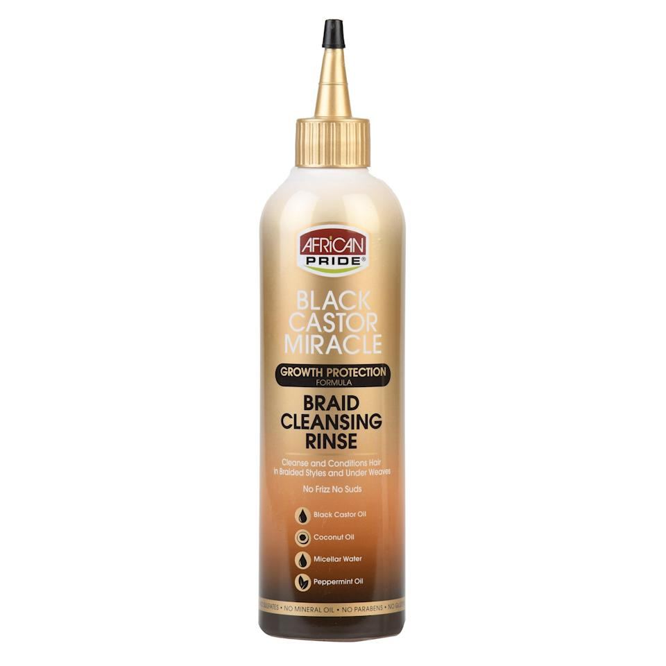 """Plan to focus much of your aftercare cleansing on your scalp. As mentioned, refreshing braided styles can be tricky, but African Pride's Black Castor Miracle Braid & Scalp Cleansing Rinse makes it easy. The pointed nozzle directs the <a href=""""https://www.allure.com/gallery/best-micellar-waters?mbid=synd_yahoo_rss"""" rel=""""nofollow noopener"""" target=""""_blank"""" data-ylk=""""slk:micellar water"""" class=""""link rapid-noclick-resp"""">micellar water</a> cleanser right to your roots, to break down, and wash away dirt and impurities. The formula also replenishes moisture with the help of coconut and black castor oils. Massage the rinse into your roots, and then gently rub over your braids as you rinse it out."""