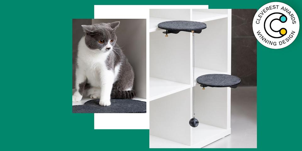 Catssup Cat Furniture System by Studio Ryte Every cat owner knows that no elevated surface is safe from their furry friend—a cat will jump and climb to the top of your apartment by way of any and all tables and shelves, knocking down your vases, picture frames, and perfectly styled knickknacks along the way. That's why these go-anywhere platform designs are so genius: Your surfaces are spared those surprise crash landings, and your cat gets the view from above she craves. catssup.com