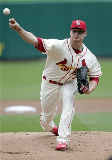 St. Louis Cardinals starter Shelby Miller pitches in the first inning of the first baseball game of a doubleheader against the San Francisco Giants, Saturday, June 1, 2013 in St. Louis.(AP Photo/Tom Gannam)